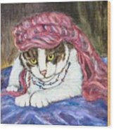 Tabby Cat With Yellow Eyes Wood Print