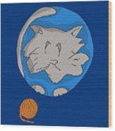 Cat Planet Wood Print