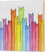 Cat Rainbow Watercolor Pattern Wood Print