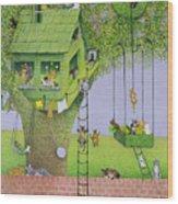 Cat Tree House Wood Print