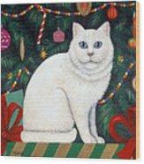 Cat Under The Christmas Tree Wood Print