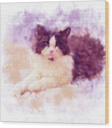 Cat Watercolor Wood Print