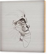Cat Wearing A Bow Tie Wood Print