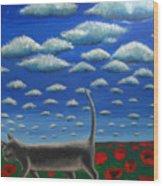 Cat Who Walks Alone Wood Print