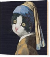 Cat With A Pearl Earring Wood Print