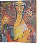 Cat With Woman Wood Print