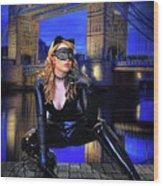 Cat Woman In London Wood Print