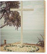 Catalina Island Cross Picture Retro Tone Wood Print