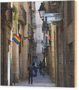 Catalonia Flag La Rambia Gothic Quarter Hotel Spain  Wood Print