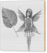 Catalpa Tree Fairy With Leaf B And W Wood Print
