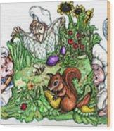 Catch-a-squirrel Wood Print by Rae Chichilnitsky