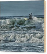 Catching A Wave Wood Print