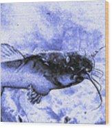 Catfish Blue Wood Print