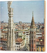 Cathedral And Campanile Milan Italy Wood Print