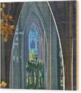 Cathedral Columns Of The St. Johns Bridge Wood Print