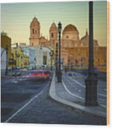 Cathedral From Campo Del Sur Cadiz Spain Wood Print