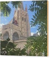 Cathedral In Brugge Wood Print