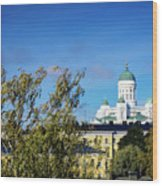 Cathedral Landmark And Central Helsinki View In Finland Wood Print