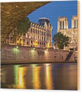Cathedral Notre Dame And River Seine - Paris Wood Print