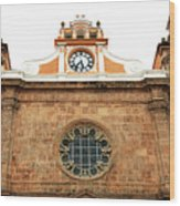 Cathedral Of Cartagena Clock Wood Print