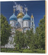 Cathedral Of The Assumption At Trinity Lavra Of St. Sergius In Sergiyev Posad, Russia Wood Print