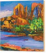 Cathedral Rock Afternoon Wood Print by Elise Palmigiani
