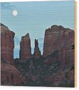 Cathedral Rock Moon 081913 G Wood Print