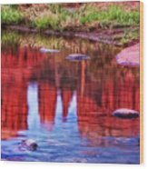 Cathedral Rock Reflection Painterly Wood Print