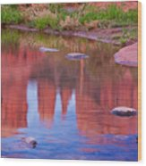Cathedral Rock Reflection Pastel Wood Print