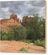 Cathedral Rock With Clouds Wood Print
