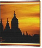 Cathedral Silhouette Sunset Fantasy L A With Alt. Decorative Ornate Printed Frame. Wood Print