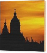 Cathedral Silhouette Sunset Fantasy L B Wood Print