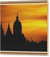 Cathedral Silhouette Sunset Fantasy L B With Decorative Ornate Printed Frame. Wood Print