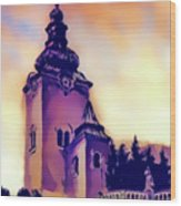 Catholic Church Building, Architectural Dominant Of The City, Graphic From Painting. Wood Print