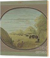 Catlin And Two Companions Shooting Buffalo Wood Print