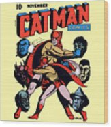 Catman And Kitten Square Format Wood Print