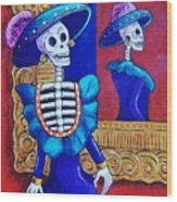 Catrina In The Mirror Wood Print