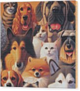 Cats And Dogs  Wood Print
