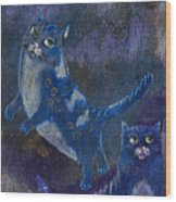 Cats And Reiki Wood Print