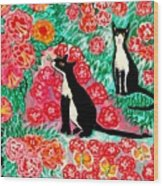 Cats And Roses Wood Print
