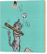 Cats Don't Play Baseball Wood Print