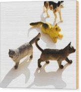Cats Figurines Wood Print