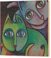 Cats I  2000 Wood Print