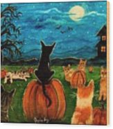 Cats In Pumpkin Patch Wood Print