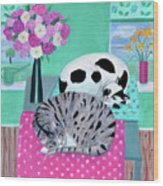 Cats In Spring Wood Print