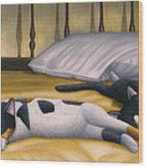 Cats Sleeping On Big Bed Wood Print by Carol Wilson
