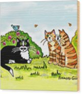 Cats Talking In A Sunny Garden Wood Print