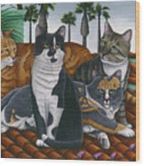 Cats Up On The Roof Wood Print