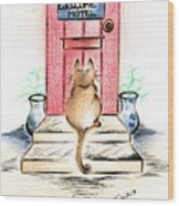 Cat's Welcome Motel Wood Print