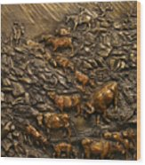 Cattle Drive Wood Print